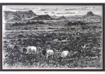 Estelle Marais - Storm Over The Karoo Farmstead